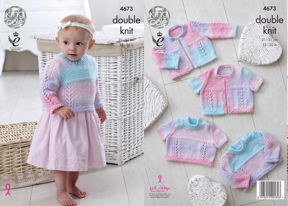 a94664121 King Cole 4673 Knitting Pattern Baby Cardigans and Sweaters in King ...