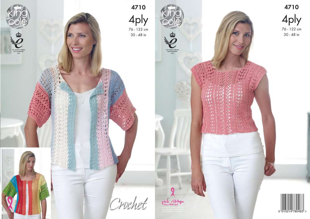 King Cole 4710 Crochet Pattern Womens Top and Cardigan in King Cole Giza 4 Ply