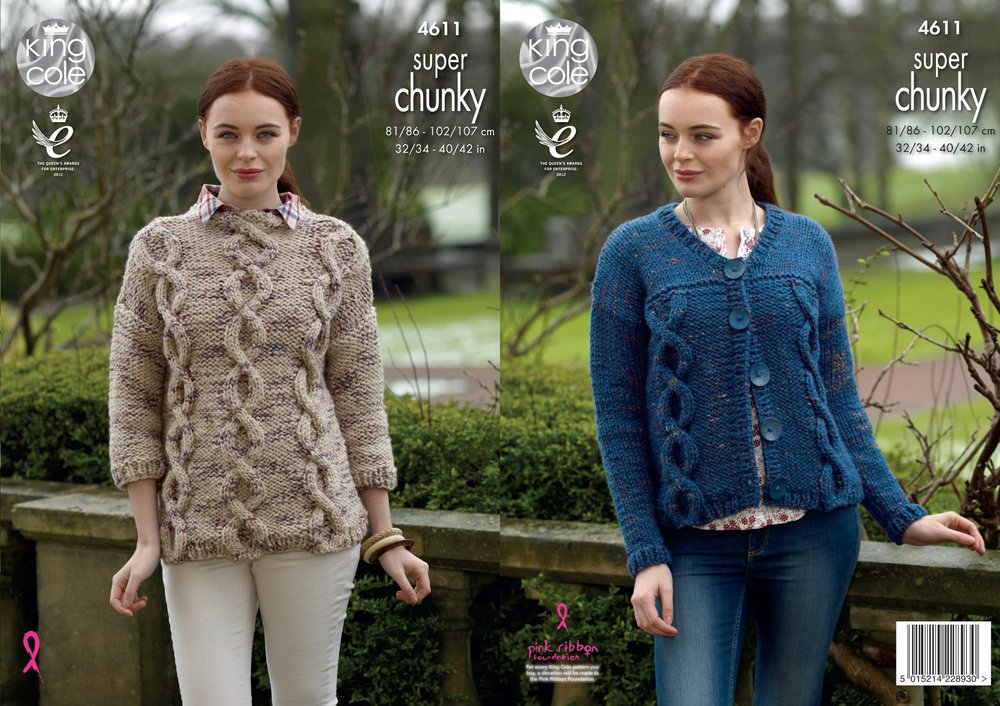 0be7408b6 King Cole 4611 Knitting Pattern Womens Sweater   Cardigan in King Cole Big  Value Super Chunky Twist - Athenbys