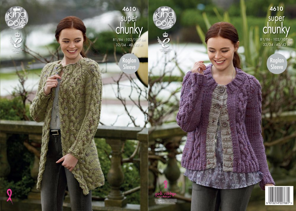 c679d24e9 King Cole 4610 Knitting Pattern Womens Cardigan   Coatigan in King Cole Big  Value Super Chunky Twist - Athenbys