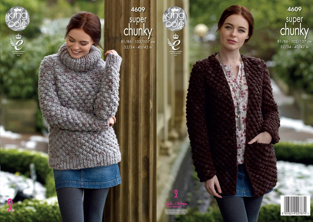 444f619eb King Cole 4609 Knitting Pattern Womens Sweater   Coatigan in King Cole Big  Value Super Chunky Twist - Athenbys