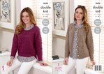 King Cole 4684 Knitting Pattern Womens Easy Knit Raglan Sweater and Cardigan in King Cole DK