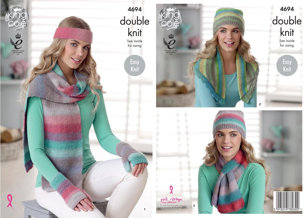 a7734647e King Cole 4694 Knitting Pattern Womens Easy Knit Accessories in King Cole  Sprite DK - Athenbys