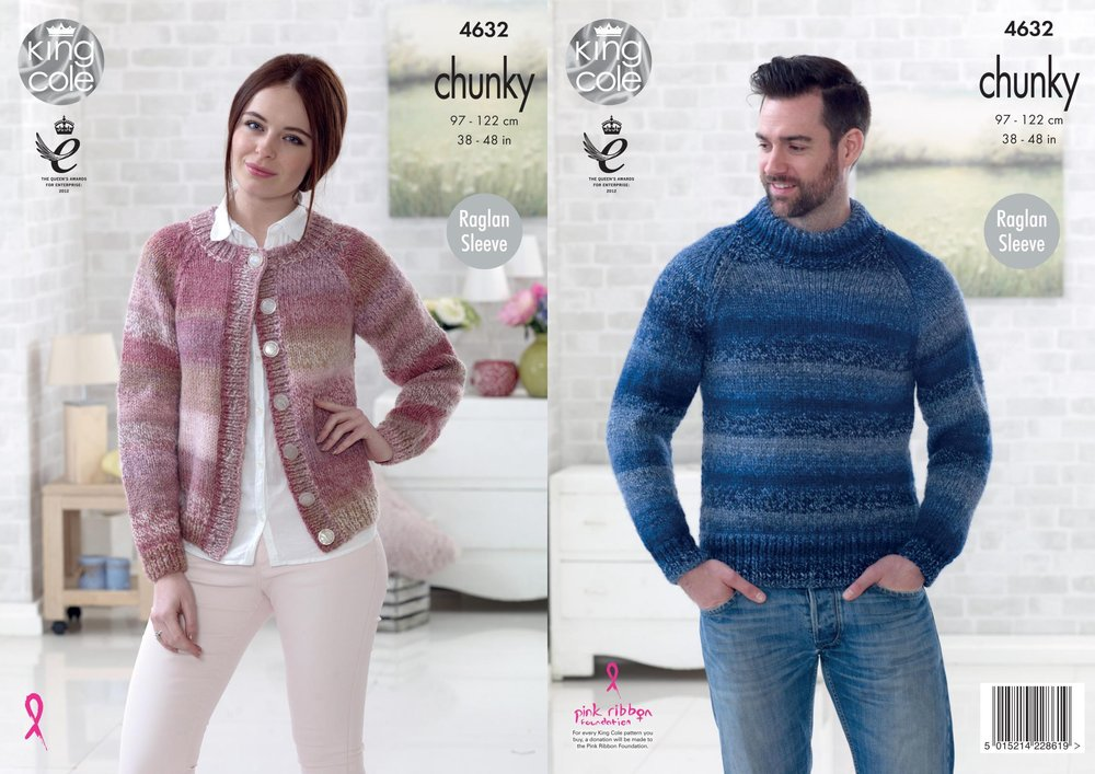 d8eebcc1d King Cole 4632 Knitting Pattern Easy Knit Mens Sweater Womens Cardigan in King  Cole Cotswold Chunky - Athenbys