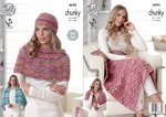 King Cole 4696 Knitting Pattern Easy Knit Blanket Shawl Wrap and Hat in King Cole Drifter Chunky