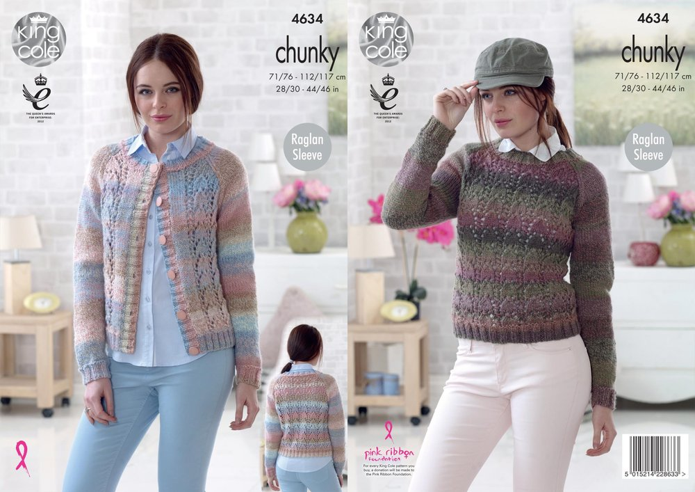King Cole 4634 Knitting Pattern Womens Cardigan and Sweater in King ...