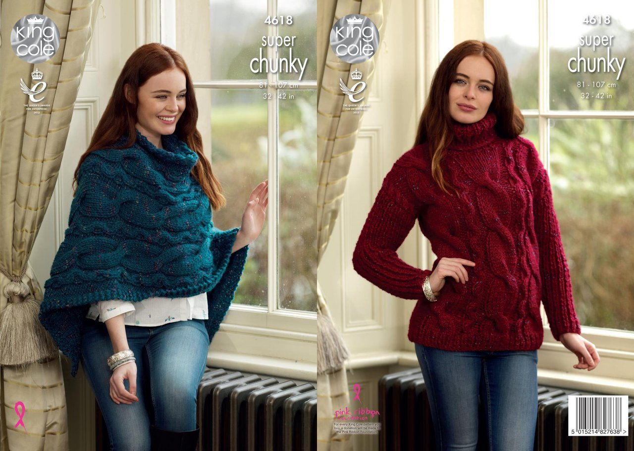 King Cole 4618 Knitting Pattern Womens Sweater and Poncho King Cole ...
