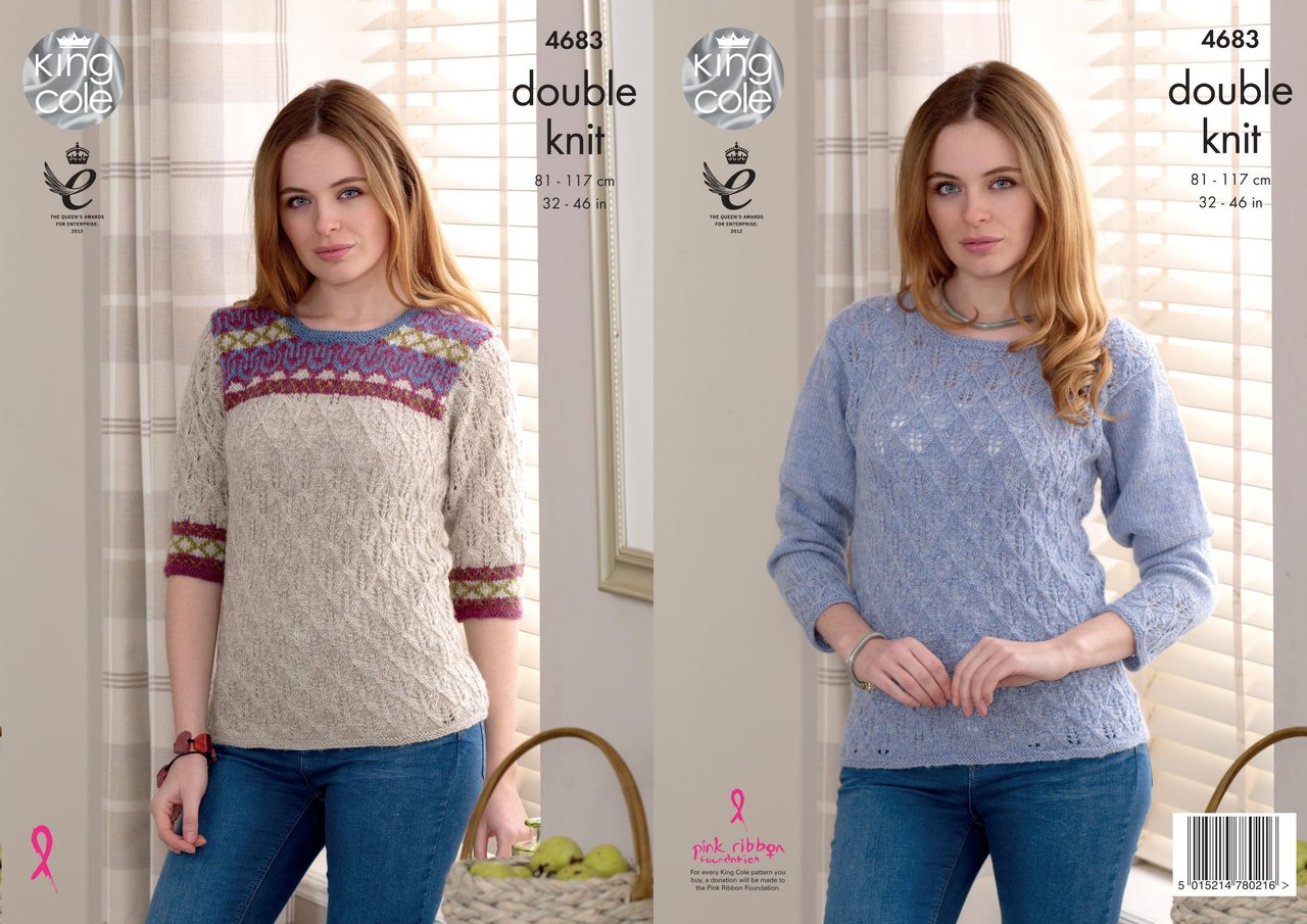 King Cole 4683 Knitting Pattern Womens Lace and Fair-Isle Sweaters ...