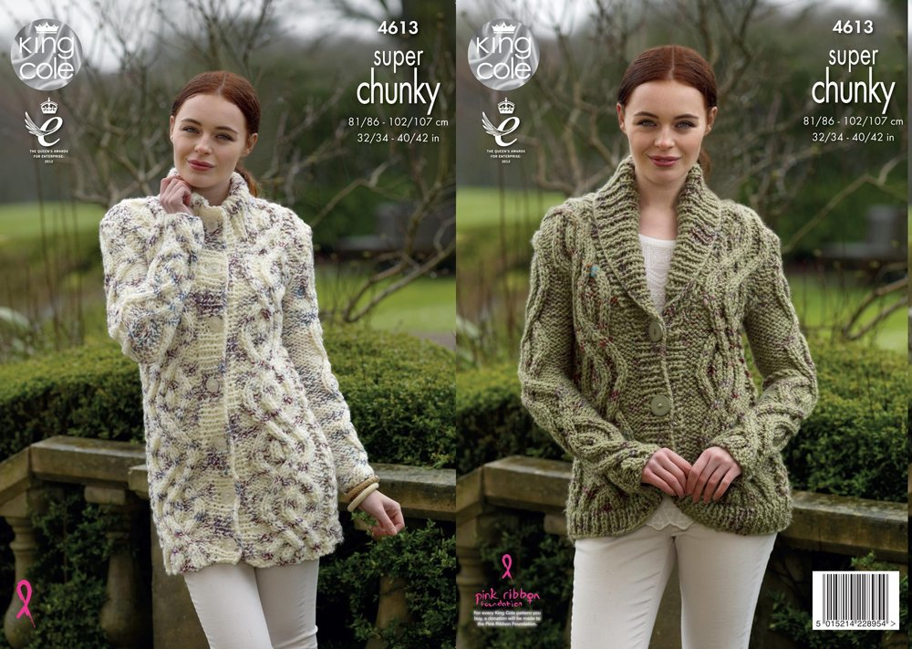 b0f0dd167 King Cole 4613 Knitting Pattern Cardigan   Coatigen in King Cole Big Value  Super Chunky Twist - Athenbys