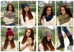 King Cole 4617 Knitting Pattern Womens Accessories in King Cole Big Value Super Chunky Twist