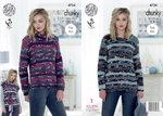 King Cole 4734 Knitting Pattern Womens Sweaters & Tabard in King Cole Big Value Multi Chunky