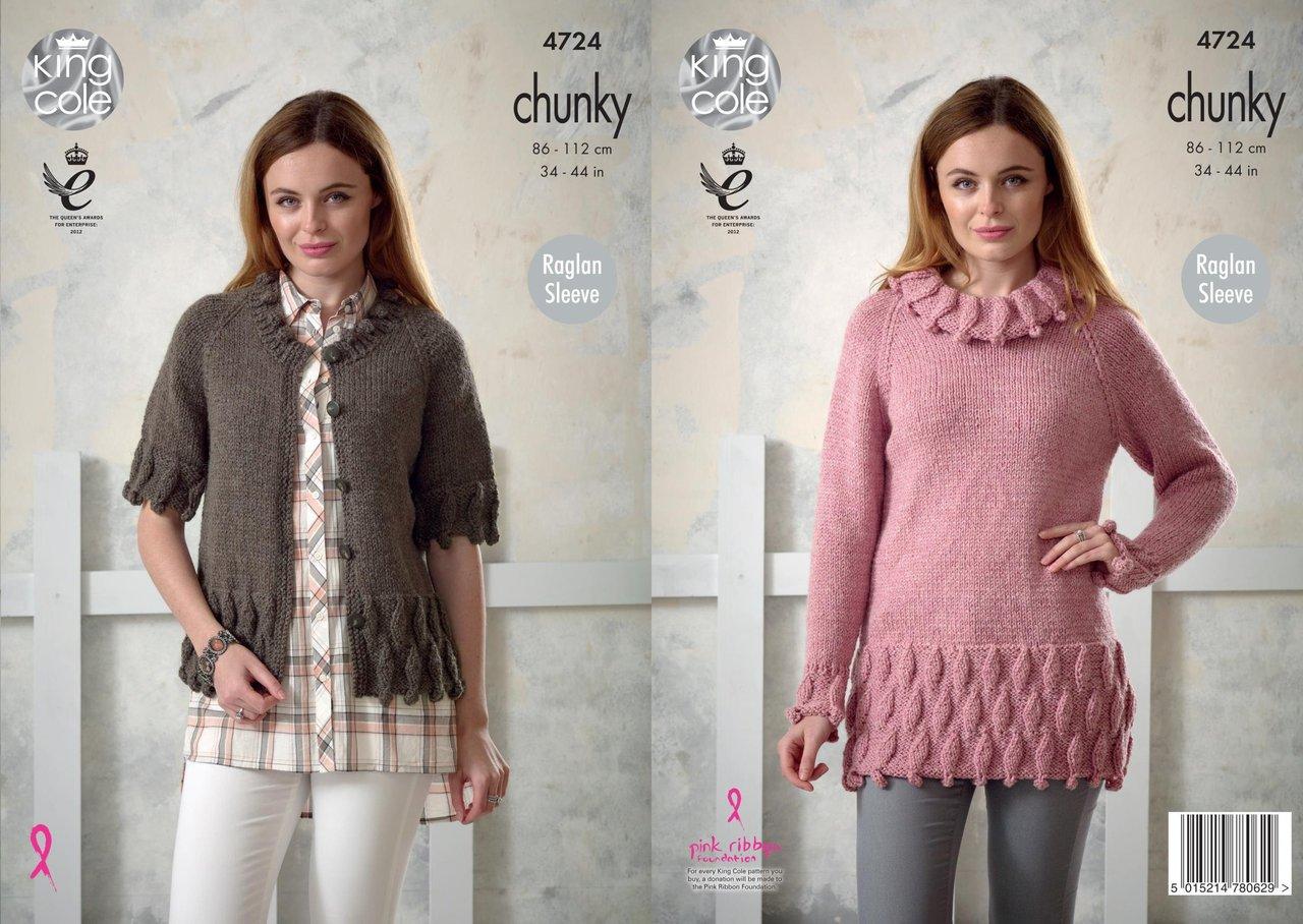 King Cole 4724 Knitting Pattern Womens Raglan Sleeve Tunic and ...