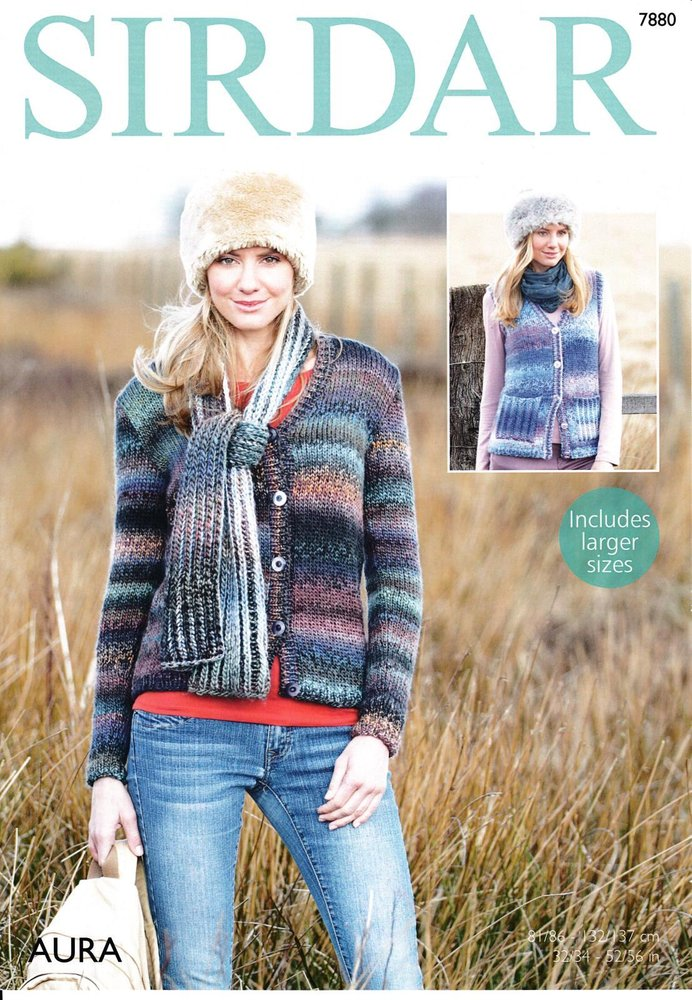 d726c9e01b79e7 Sirdar 7880 Knitting Pattern Womens Waistcoat Cardigan and Scarf in Sirdar  Aura Chunky - Athenbys