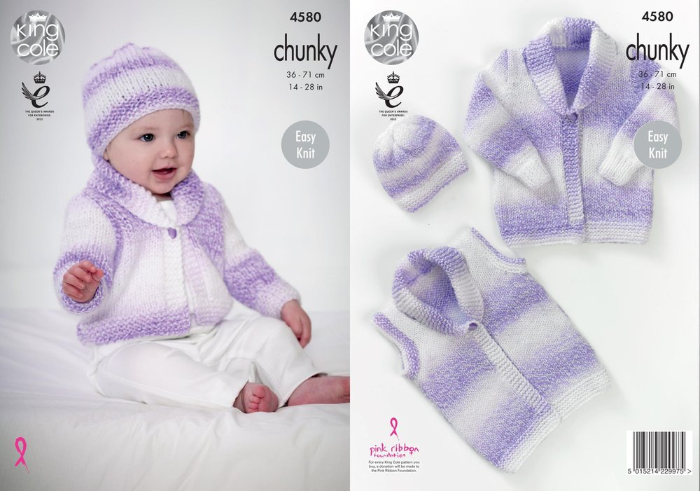 King Cole 4580 Knitting Pattern Baby Cardigan, Waistcoat & Hat in ...