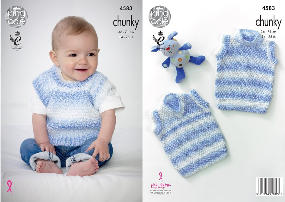 King Cole 4583 Knitting Pattern Baby Slipovers In Big Value Baby