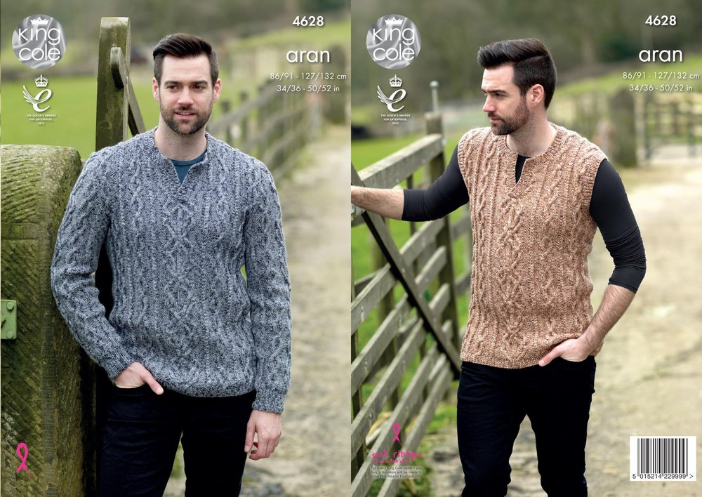 629f358df King Cole 4628 Knitting Pattern Mens Sweater and Slipover in King Cole  Fashion Aran Combo - Athenbys