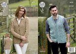 King Cole 4626 Knitting Pattern Unisex Waistcoat and Cardigan in King Cole Fashion Aran Combo