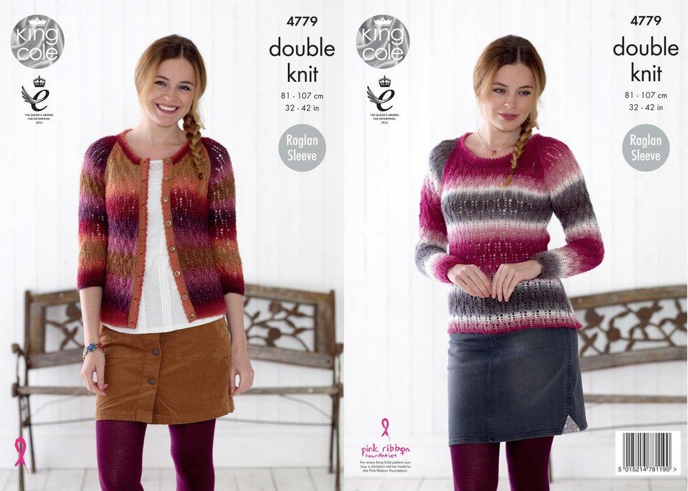 Womens Raglan Sweater /& Cardigan Double Knitting Pattern King Cole Riot DK 4779