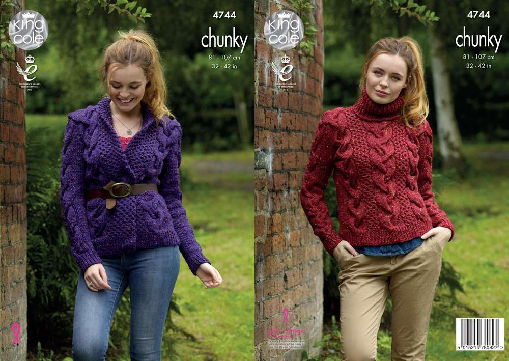 King Cole 5290 Knitting Pattern Womens Sweater and Cardigan in Chunky Tweed