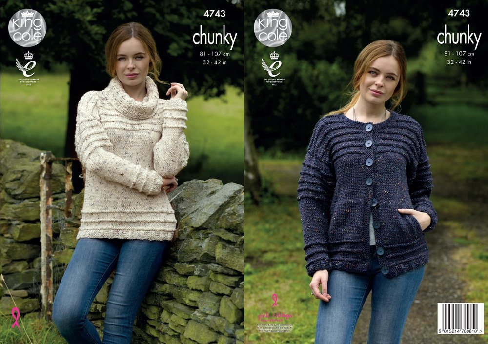 fcf70d6834986e King Cole 4743 Knitting Pattern Womens Sweater and Cardigan in King Cole  Chunky Tweed - Athenbys