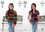 King Cole 4777 Knitting Pattern Girls Sweater and Waistcoat in King Cole Riot DK