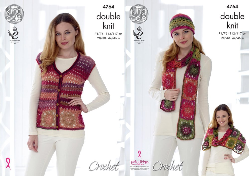 King Cole 4764 Crochet Pattern Womens Waistcoat And Accessories In