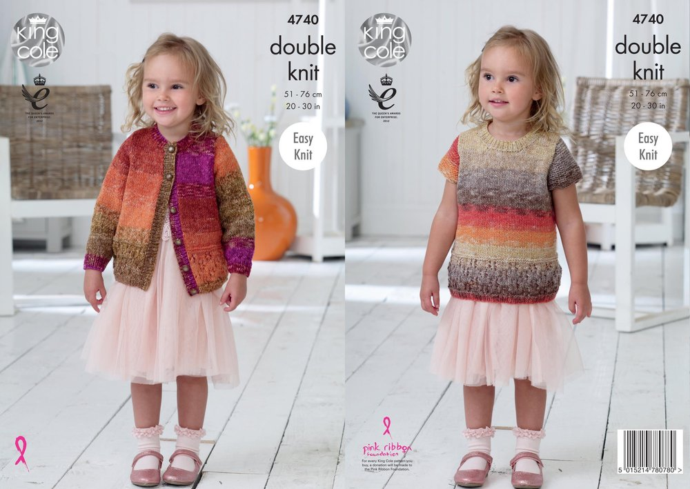 King Cole 4740 Knitting Pattern Girls Easy Knit Cardigan and Top in ...