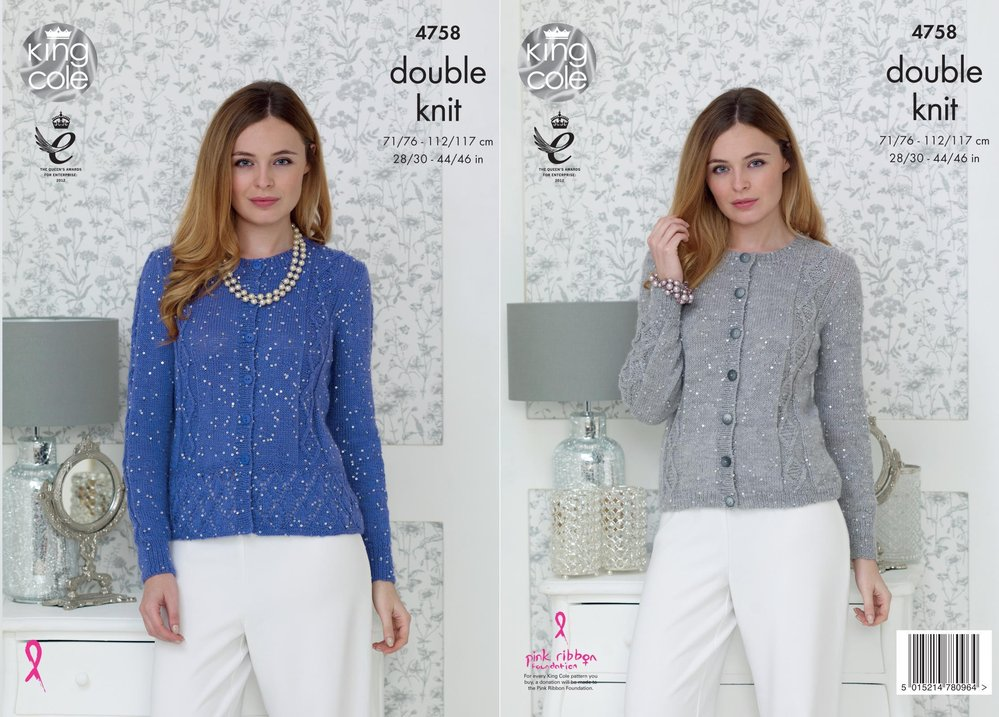 a10e658f2 King Cole 4758 Knitting Pattern Womens Ribbed and Peplum Cardigans in King  Cole Galaxy DK