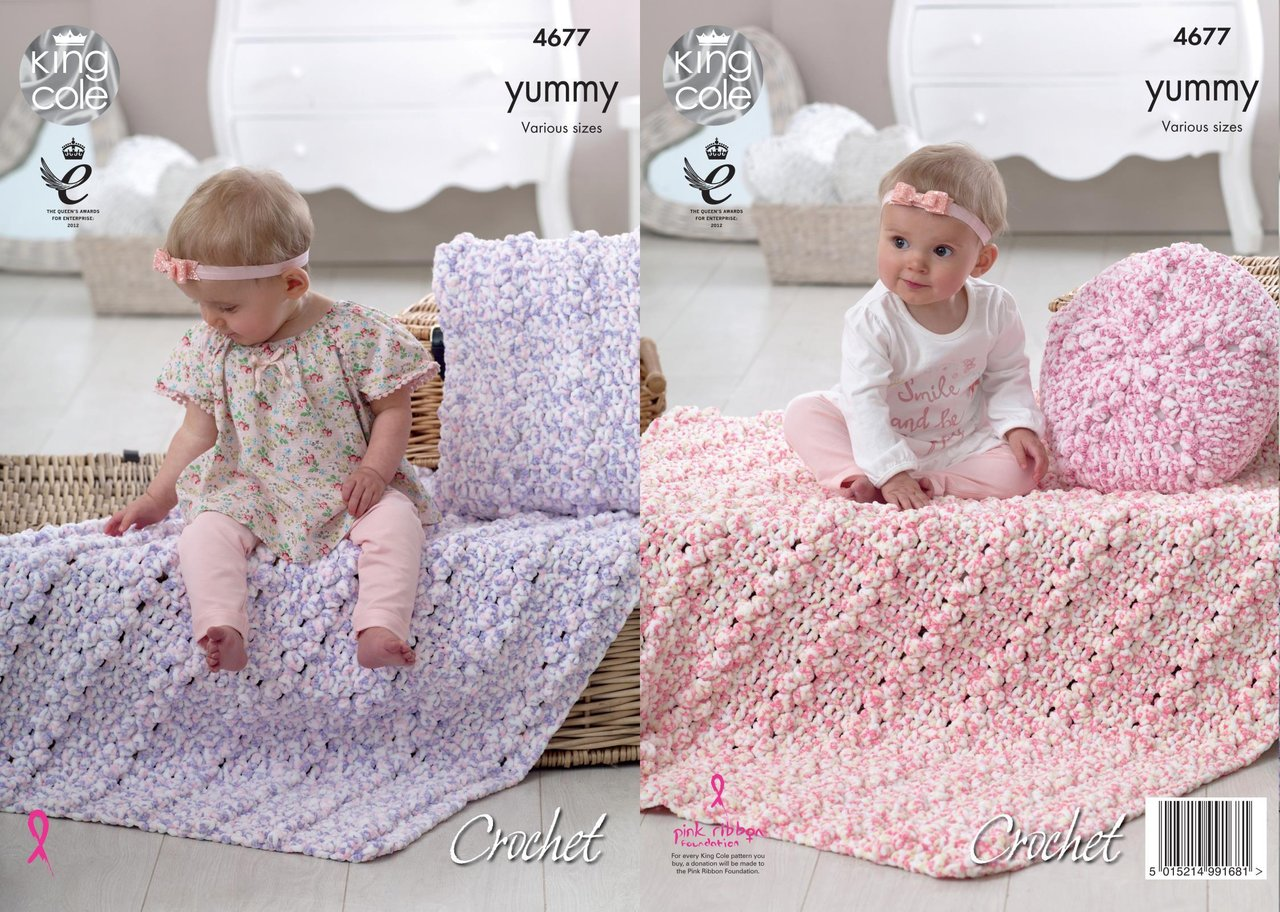 King Cole 4677 Crochet Pattern Baby Blankets and Cushions in Yummy ...