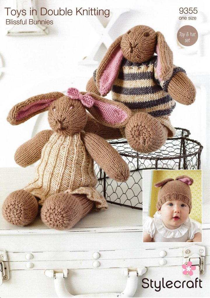 Stylecraft 9355 Knitting Pattern Blissful Bunny Toys & Hat Set in Stylecraft Special & Batik DK