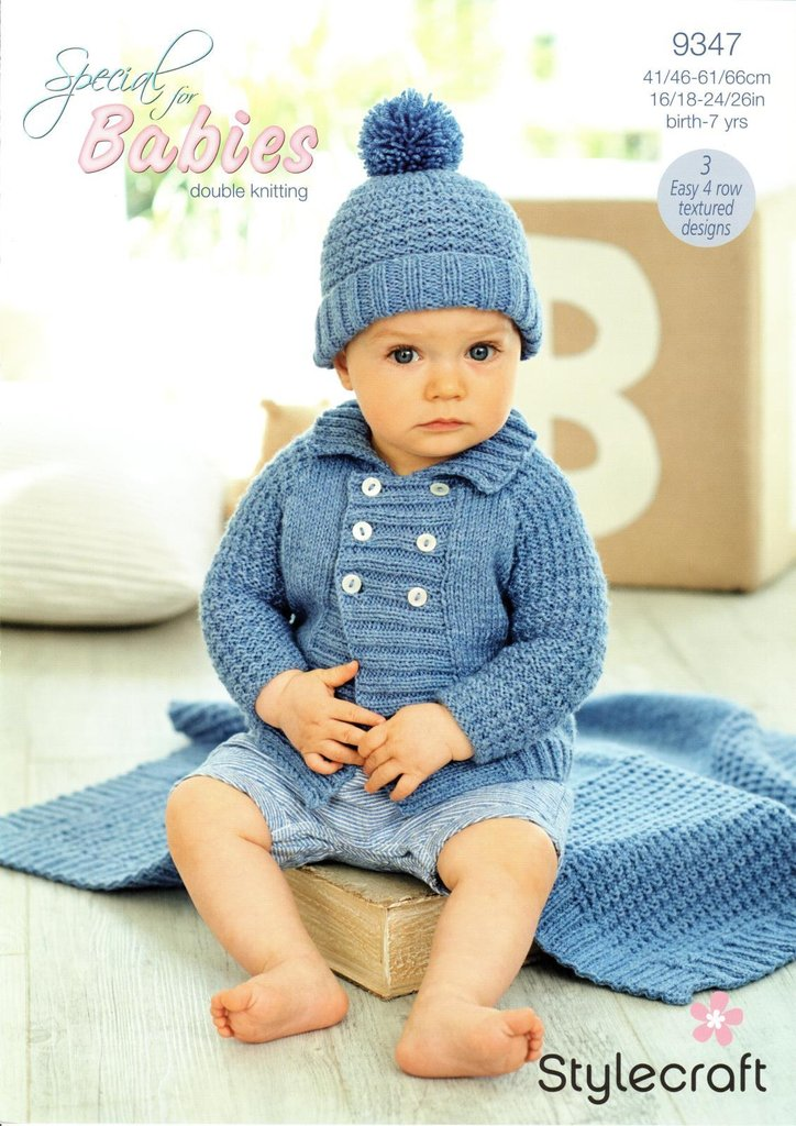 Stylecraft 9347 Knitting Pattern Baby Boys Jacket Hat & Blanket in ...