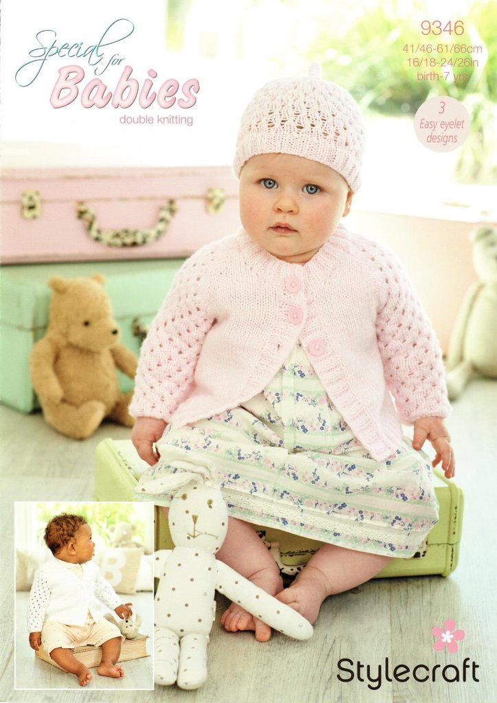 Stylecraft 9346 Knitting Pattern Baby Girls Cardigans And Hat In