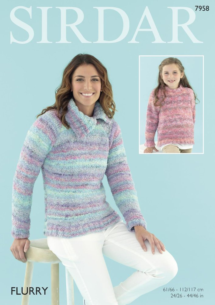 Sirdar 7958 Knitting Pattern Women and Girls Cowl and Round Neck ...
