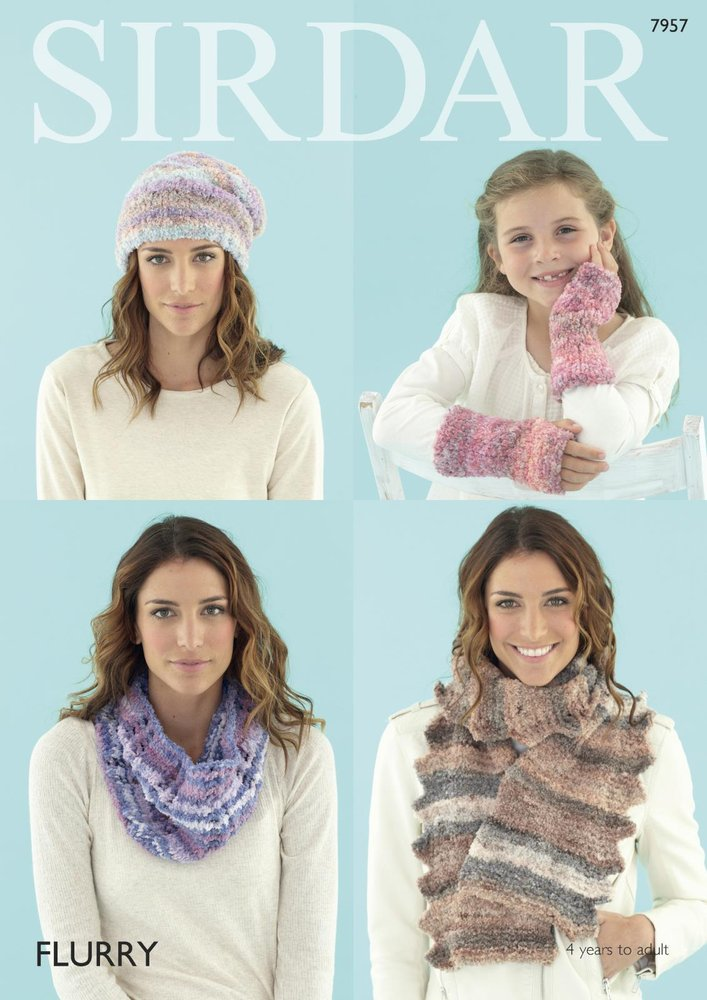 Sirdar 7957 Knitting Pattern Women And Girls Snood Scarf Hat Wrist