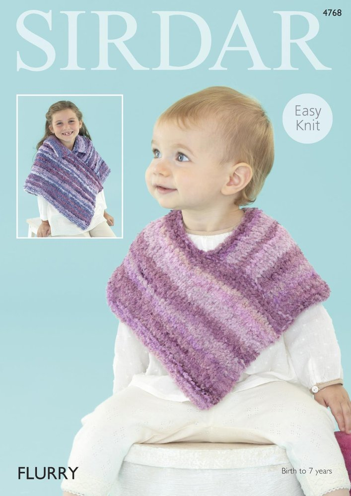 Sirdar 4768 Knitting Pattern Baby And Girls Easy Knit Ponchos In