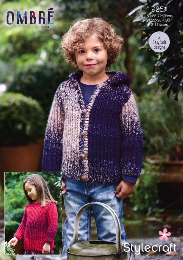 Stylecraft 9251 Knitting Pattern Childrens Easy Knit Sweater And