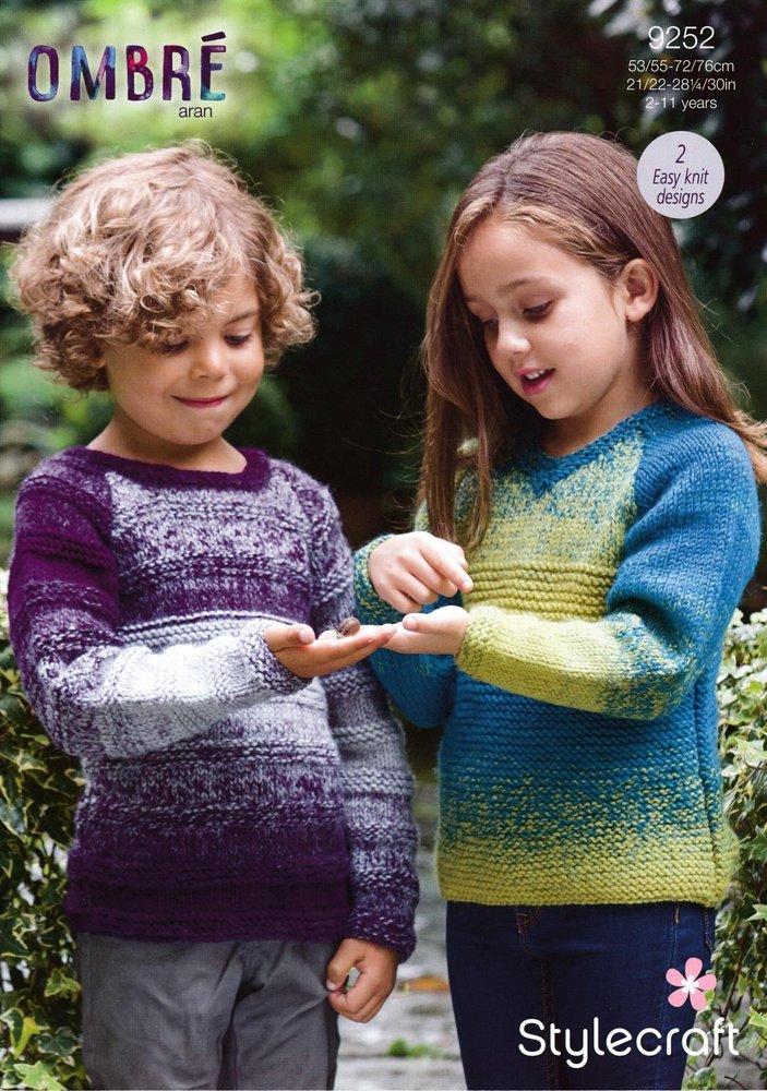50cbb6fb813f Stylecraft 9252 Knitting Pattern Childrens Easy Knit Sweaters in ...