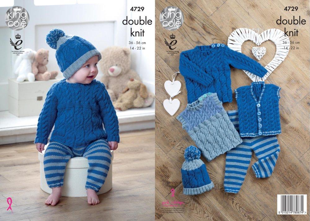 King Cole 4729 Knitting Pattern Baby Set Waistcoat Sweaters Leggings