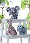 King Cole 9062 Knitting Pattern Toy Giraffe, Hippo & Elephant to knit Yummy