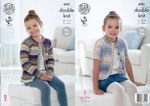 King Cole 4781 Knitting Pattern Girls Easy Knit Long & Short Sleeved Cardigans in Splash DK