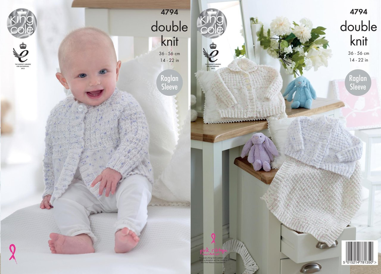 King Cole 4794 Knitting Pattern Baby Cardigans and Blanket in King ...