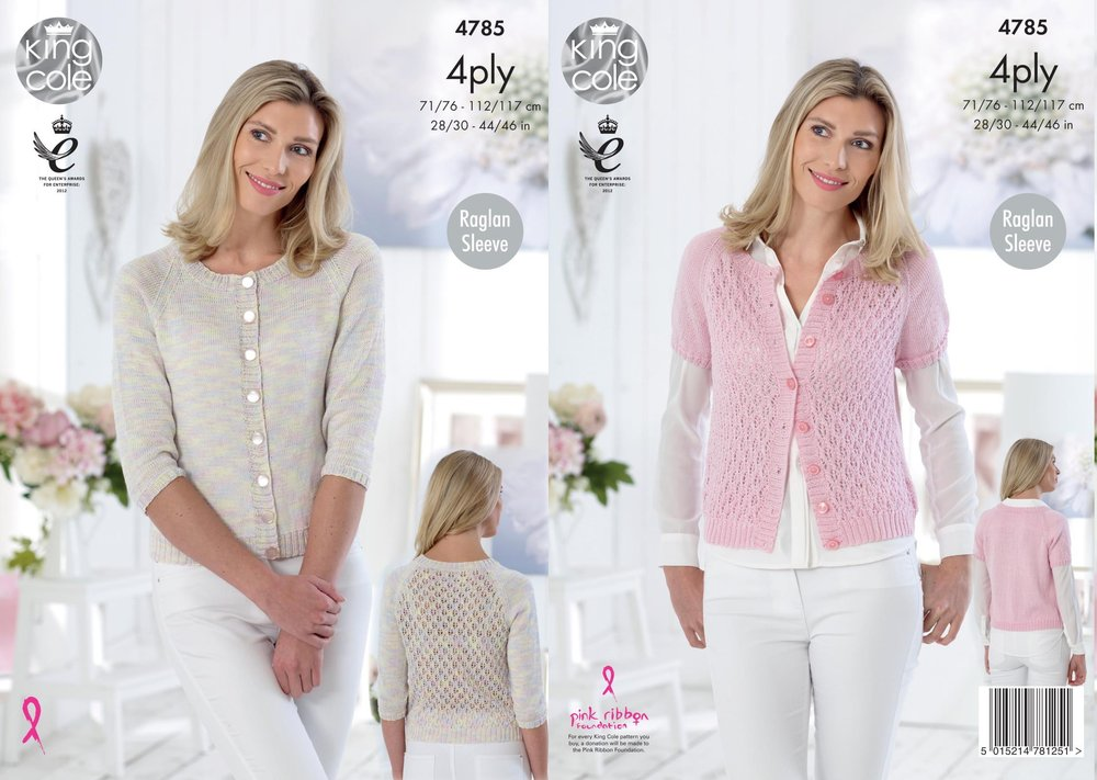 94bed8225 King Cole 4785 Knitting Pattern Womens Raglan Cardigans in King Cole ...