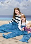 Wendy 6022 Knitting Pattern Adult, Child and Baby Mermaid Tails in Serenity Super Chunky