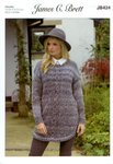 James C Brett JB424 Knitting Pattern Womens Long Sweater in Marble Chunky Glamour