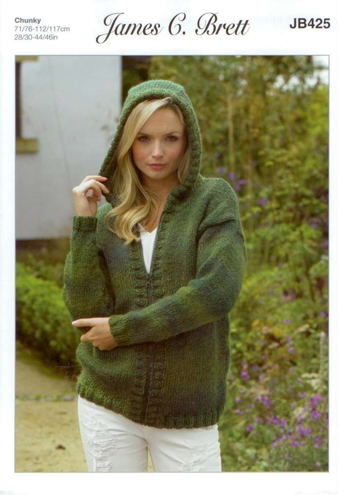 James C Brett Jb425 Knitting Pattern Womens Hooded Cardigan In