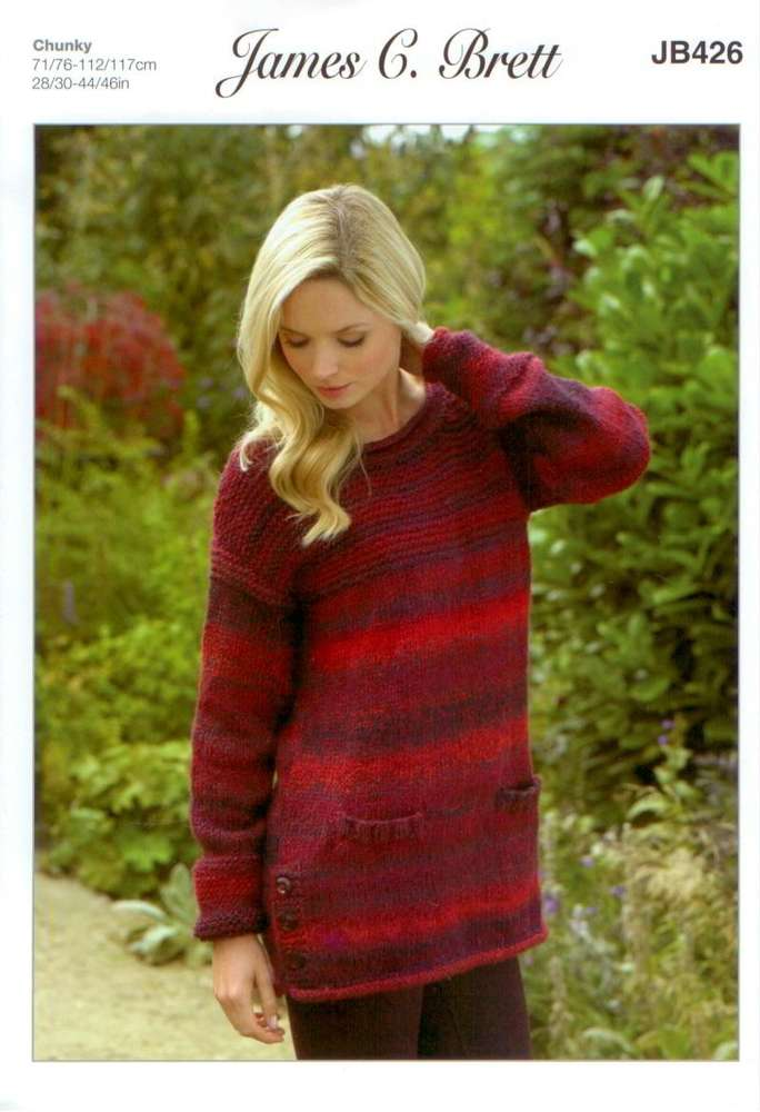 55d7af5e3b11 James C Brett JB426 Knitting Pattern Womens Sweater in Marble Chunky Glamour  - Athenbys