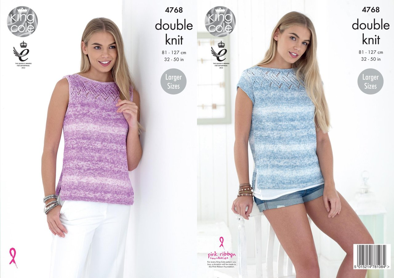 King Cole 4768 Knitting Pattern Womens Sleeveless and Short Sleeved ...