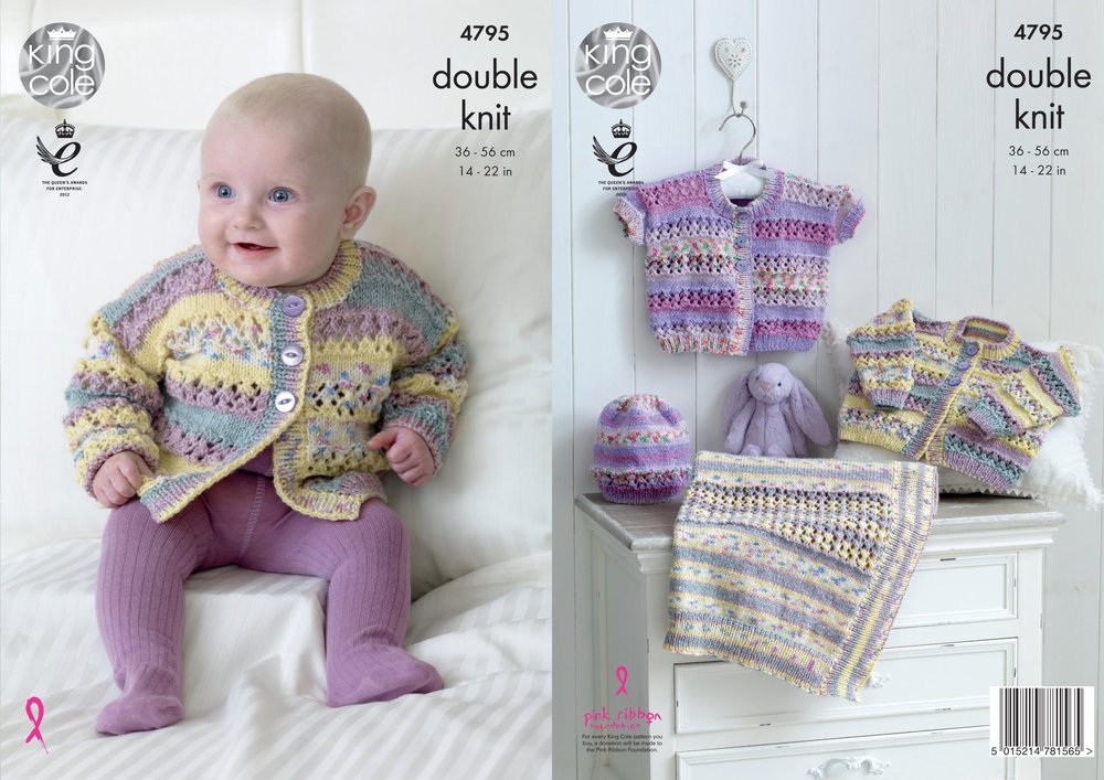 f95f5fd5d King Cole 4795 Knitting Pattern Baby Cardigans Hat   Blanket in King ...