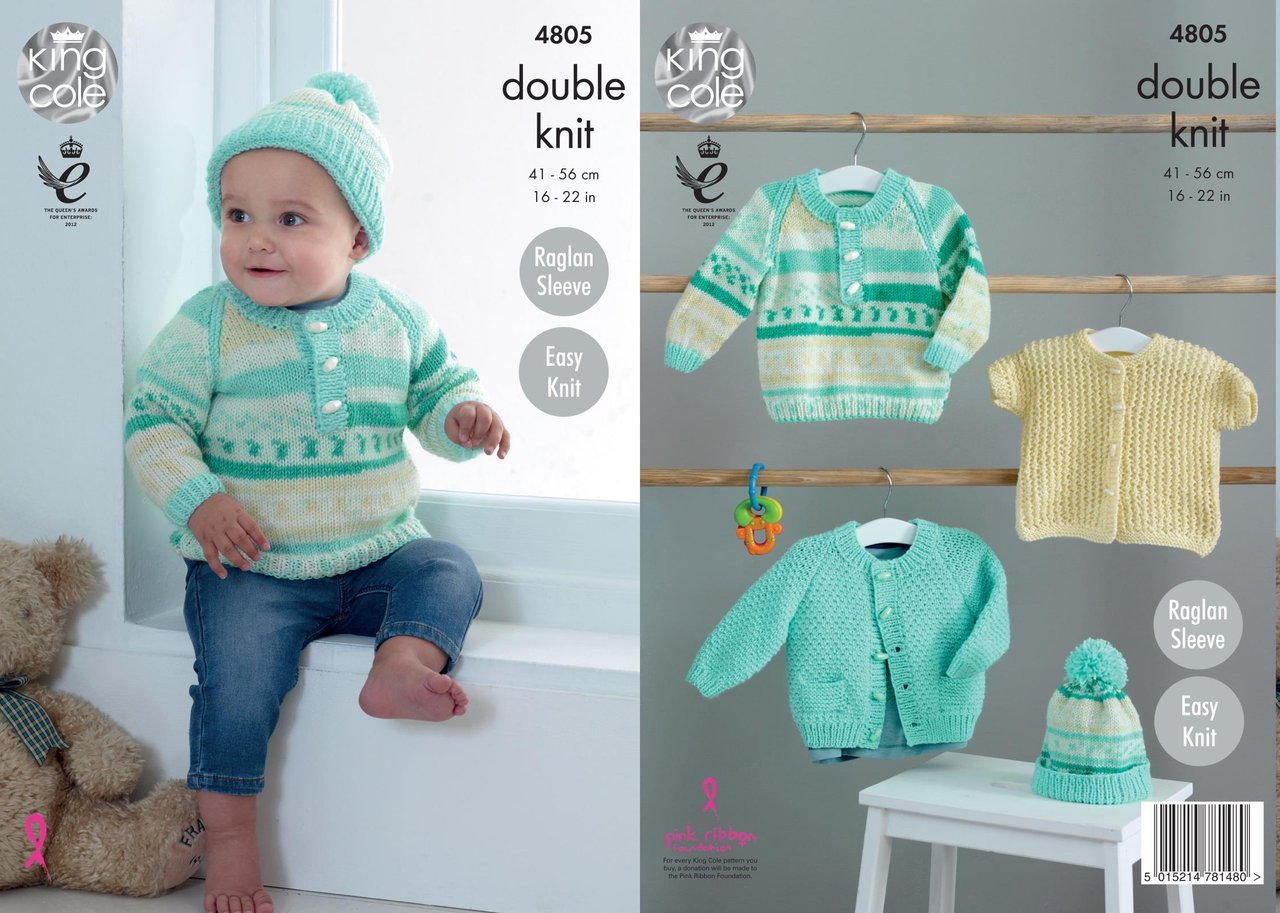King Cole 4805 Knitting Pattern Baby Jacket Sweater Cardigan & Hat ...