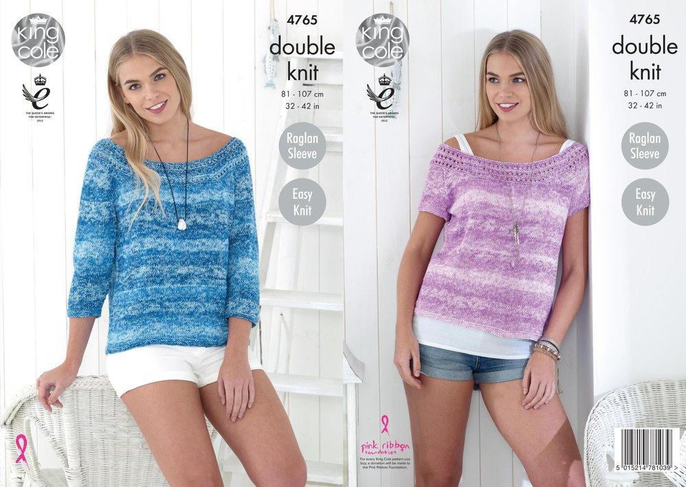 King Cole 4765 Knitting Pattern Womens Raglan Easy Knit Tops in King ...